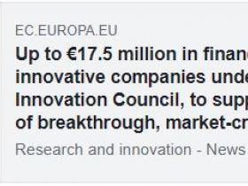"The European Commission launched the new EIC PILOT which includes the ""Accelerator"" for financing innovative small companies"